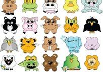 卡通动物头像矢量矢量素材