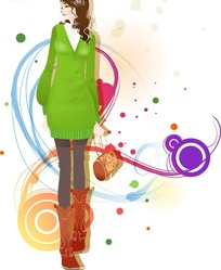 精美矢量穿靴子的美女时尚插画素材