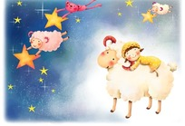 小女孩在羊身上睡觉