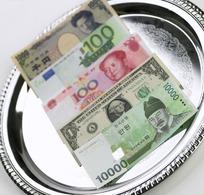 盘子上排好的各国纸币