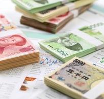 分散的各国纸币