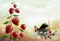 钢琴鲜花插画