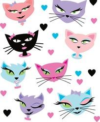 可爱卡通猫咪头像矢量素材