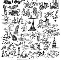 生活旅游图案