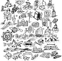 速写生活旅游图案