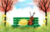 卡通梦幻大树长椅小提琴插画图片