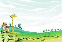草原上的长颈鹿卡通插画风景素材