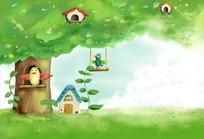 大树上的卡通房子鸟窝漫画背景素材