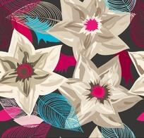 彩绘花卉背景矢量素材