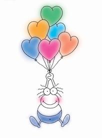 手绘拉着心形气球的小青蛙