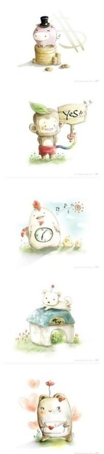 手绘水彩效果卡通动物玩偶图标