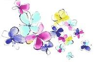 水墨风格的彩色花朵PSD分层素材