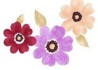 三朵彩色的水墨花朵
