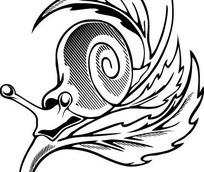 黑白线条手绘卡通蜗牛