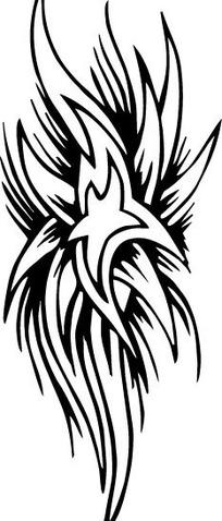 黑白花朵发散手绘花纹 eps