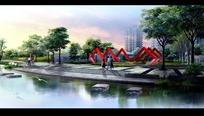 公园园林景观设计效果图PSD分层素材