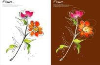 亮丽矢量手绘植物插画