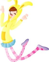 跳舞的卡通小女孩人物插画