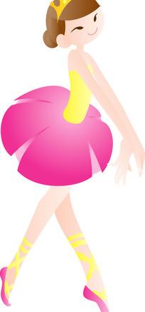 在跳芭蕾舞的卡通女孩