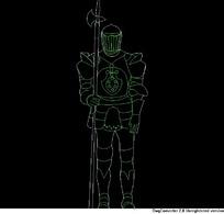 身披铠甲的人物CAD图