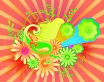 五彩缤纷的手绘花朵