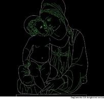 相依偎的母子图