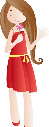 长头发的卡通女孩图片