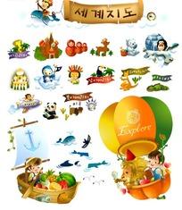 可爱儿童梦幻世界插画素材