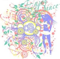 可爱女孩花纹 动感线描 手绘 纹饰 花卉 音乐 潮流 时尚背景素材