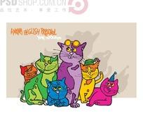 线形戴眼镜的手绘卡通猫咪尺量素材