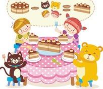 小朋友和动物分蛋糕卡通儿童矢量图