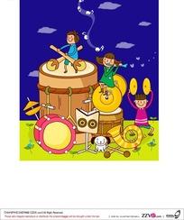 小朋友玩音乐卡通乐园