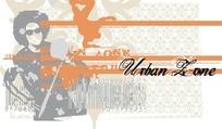 嘻哈摇滚人物动感潮流插画线描尺量背景素材