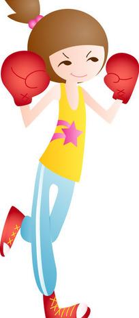 卡通人物拳击图片_卡通人物拳击图片设计素材_红动网