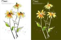 手绘黄色小花