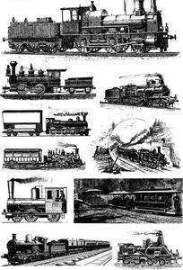 10副老式火车黑白线描矢量图