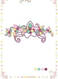 涂鸦风格花朵/藤蔓矢量图