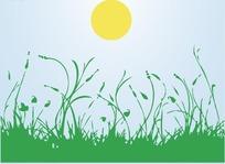 草原日出矢量图