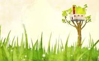 卡通插画草原上的树屋psd源文件