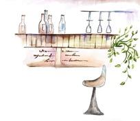 厨房餐具吧台插画