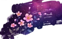 写意手绘粉色花朵底纹PSD分层模板