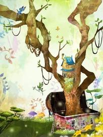 宝箱里的树屋卡通梦幻风景插画psd源文件
