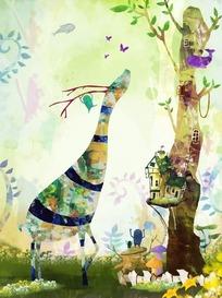 吃树叶的长颈鹿卡通梦幻风景插画psd源文件