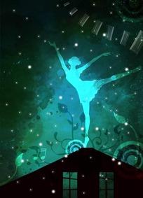 房顶上芭蕾舞的抽象女孩剪影