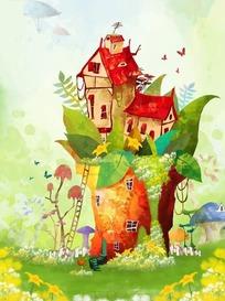 山崖上的移动城堡卡通梦幻风景插画psd源文件