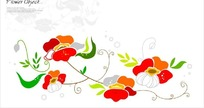 矢量彩色花朵底纹背景