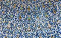 手绘伊斯兰对称宫廷壁画