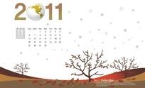2011年11月树木落叶台历模板PSD