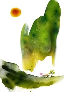 绿色水墨风景插画PSD