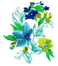 时尚彩色水墨花卉